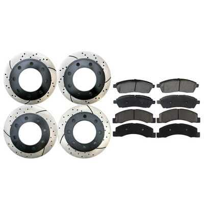 Front and Rear Kit of 4 Drilled & Slotted Brake Rotors and 8 Ceramic Brake Pads