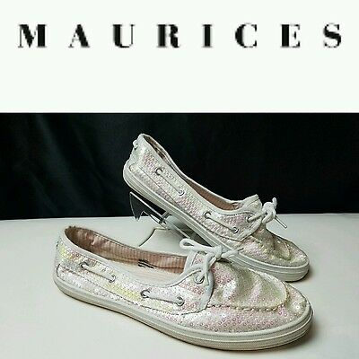 Maurices SZ 9 20607 White Sequence Flats Loafers Oxfords