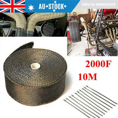Car Exhaust Heat Wrap Titanium 10M X 50Mm Roll +10 Stainless Ties - Insulation
