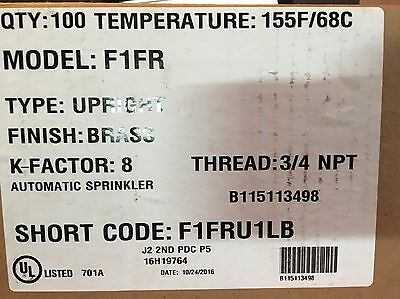 Reliable- Rasco Brass Upright F1FR Fire Sprinkler Head 3/4 155* qr spu