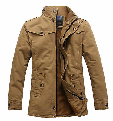 2018 Mens Casual Winter Military Jacket Parka Warm Trench Thick Coat Overcoat