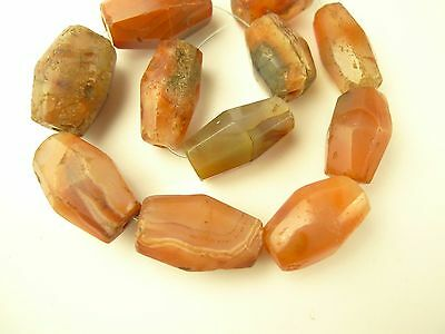 11 pcs faceted agate carnelian stone trade beads old tribal African AF-0031