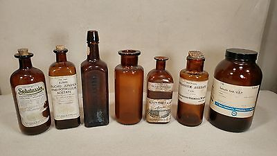Antique Apothecary Pharmacy Medicine Amber Bottle Jar Lot - Eli Lilly Etc. COOL!