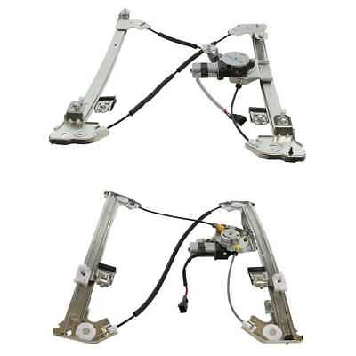Front & Rear Driver Side Window Regulator With Motor With Lifetime Warranty