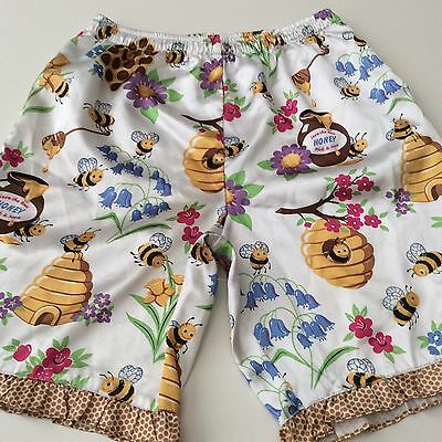 Nick & Nora Honey Bee Girls LARGE 10/12 Junior Pajama Bottom Shorts Silky Poly