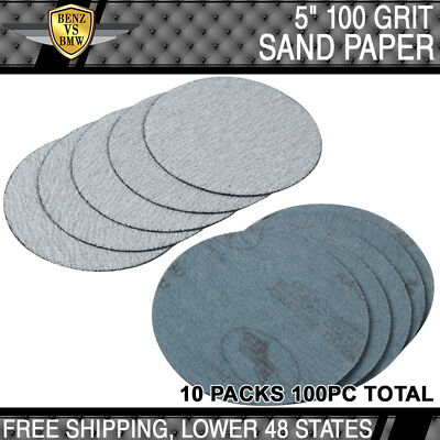 100PC 5Inch Dry 100 Grit Auto Sand Disc No Hole Sandpaper Sheet Sand Paper PSA