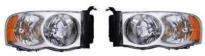 New Pair of (2) Front LH and RH Headlights fits 02-05 Dodge Ram 1500 2500 3500