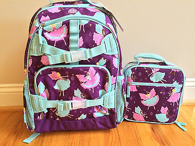 NEW Pottery Barn Kids LARGE PLUM FAIRY Backpack + Classic Lunch Bag NWT
