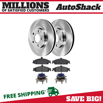 Front Brake Rotors +Ceramic Pads +Wheel Hub Bearing for Chevy Oldsmobile Pontiac