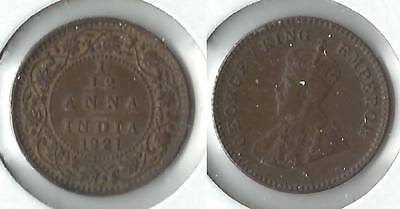 1921 India one twelfth anna coin