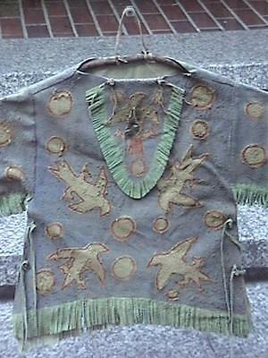 Antique Native American Indian H/painted Eagles Leather Blouse On Celluloid Box