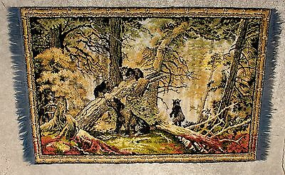 "Vintage Chenille Wall Tapestry/Rug Black Bear Family in Woods Size 38"" x 55"""