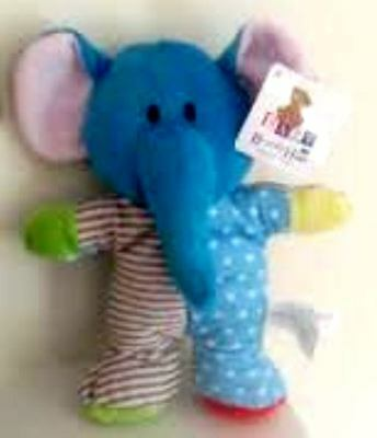 """Beverly Hills Teddy Bear Co Plush Patchwork Baby Elephant Soft Toy Rattle 9"""" NWT"""
