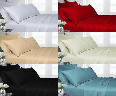 100% Egyptian Cotton Satin Stripe 250T Duvet Covers Sets & Fitted & Flat Sheets