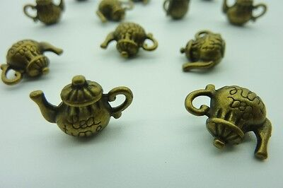 12 pce Metal Antique Bronze Teapot Charm Pendants 15mm x 13mm