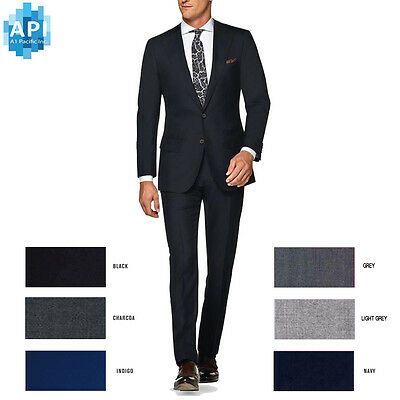 Men's Formal Slim Fit 2 piece Suit two button solid color Jacket pants CT101