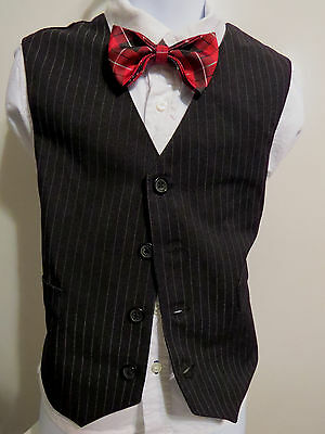 Sz 5 Black/White Pinstriped #138 BOYS Polyester Indie Suit Vest Waistcoat