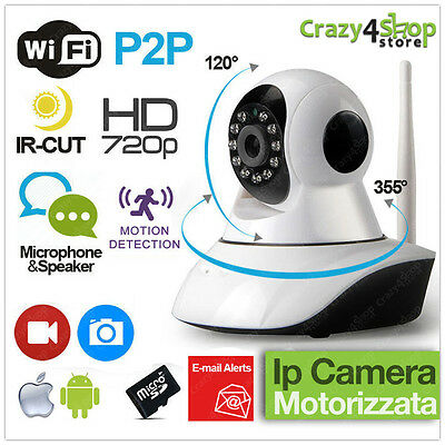 Telecamera Ip Camera Hd 720P Wireless Led Ir Lan Motorizzata Wifi Rete Antenne