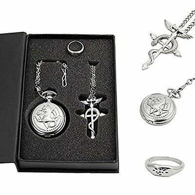 Topwell Full Metal Alchemist Pocket Watch Necklace Ring Edward Elric Anime
