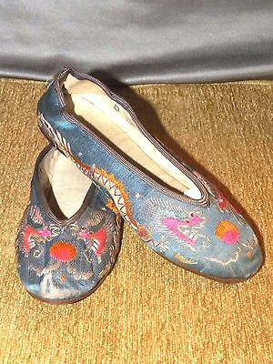 Beautiful Old Chinese Embroidered Dragon Bound Foot Shoes Lotus Slippers