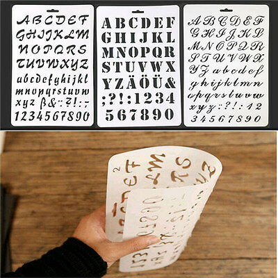Letter Alphabet Number Stencils Painting Scrapbooking Paper Cards Craft AU