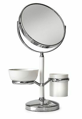 Cosmetic Make Up Table Shaving Stick Holder Bathroom Mirror Chrome Magnifying