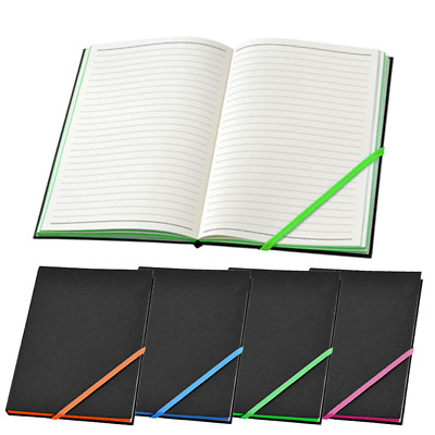 New Lined Notebook Notepad Hardback A5 4 Neon Colours Journal Diary Note Book