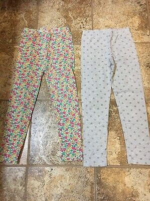2 Pair Of Girls Leggings By Carters Size 8 Gray And Floral