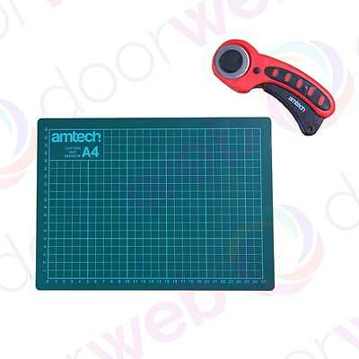 A4 CUTTING MAT 45MM ROTARY CUTTER Amtech Non Slip Printed Gride Line Hobby Craft