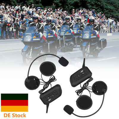 2x Motorrad Helm 1200M Bluetooth Gegensprechanlage 6 Riders Headset Sprechanlage
