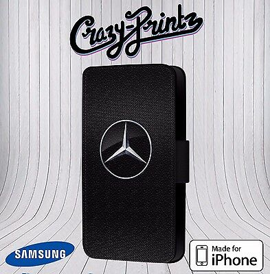 Mercedes Benz Inspired Logo Fits iPhone & Samsung Leather Flip Case Cover T115