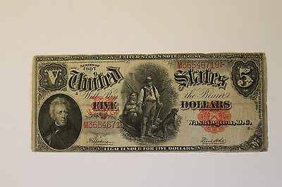 """$5 Five Dollar """"Woodchopper"""" United States Large Size Note Series 1907"""