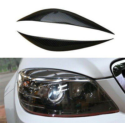 Carbon Fiber Headlight Lamp Eyelid Eyebrow For Mercedes Benz C Class W204 07-10