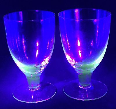 4 Set Fine Golden - Glows Green Uranium Stemmed Depression Glass Wine Glasses