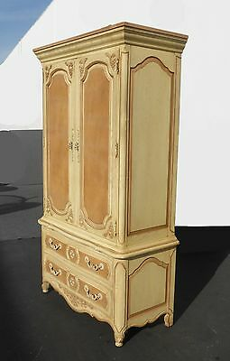 Vintage French Country Cottage THOMASVILLE Ornate Two Tone ARMOIRE Cabinet