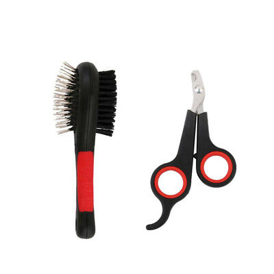 Pet Fur Shedding Remove Grooming Comb Brush and Nail Cutter Clipper COMBO