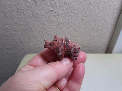 Rhino, Hand carved Stone from the Andes Rich Hued Rhinoceros Miniature Unique