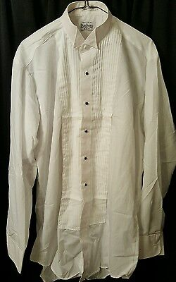 Doni Barassi Mens White Long Sleeve Tuxedo Wing Collar Shirt Size M 34/35