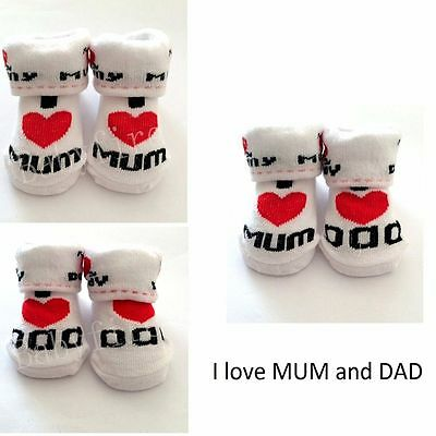 Girls Lovely Love Mom/Dad Newborn Baby Socks Toddler 0~6 Months Cotton Socks