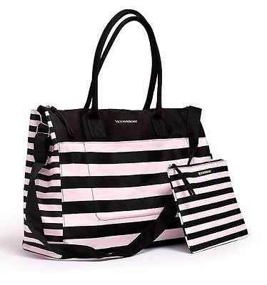 Victoria's Secret Weekend Travel Tote Bag & Cosmetics Bag Pink Stripe