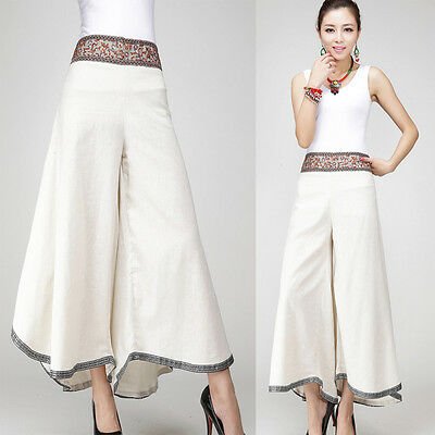 Brand  New Female's Loose Flares Cotton Linen Cropped Split Skirt Trousers Pants