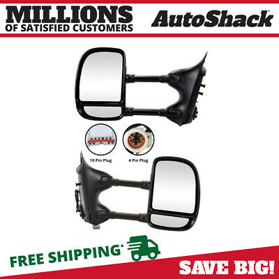 Pair (2) Power Manual Folding Side View Mirror Fits 99-07 Ford F-250 Super Duty