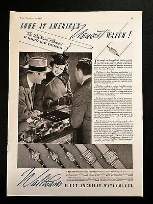 Vtg Waltham Watch Print Ad 1936 Original Watches Premier Watchmaker Couple