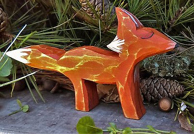 Fox Wood Carved Forest Animal