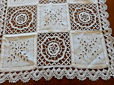 Antique Linen Centerpiece Doily Tablecloth Embroidery Whitework Bobbin Lace