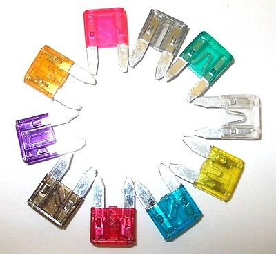 MINI BLADE FUSES AUTO CAR VAN BIKE 2,3,4,5,7.5,10,15,20,25,30 AMP 4EACH MIX x 40