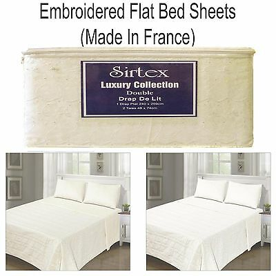 Flat DOUBLE Cotton SUMMER Bed Sheet Embroidered With Pillowcases Cream & White