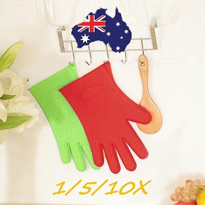 Kitchen Heat Resistant Silicone Glove Oven Pot Holder Baking BBQ Cooking Tool RI
