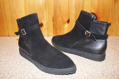 New NINE WEST Womens MARKO Black Suede/ Leather Ankle Boots 10 M