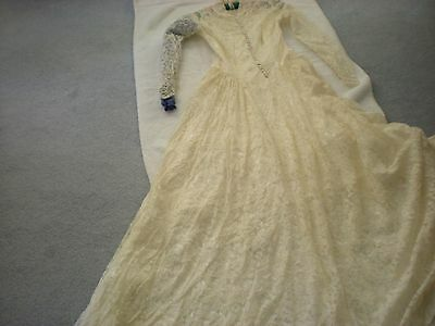 Vintage Antique-Cream, Not Pink, Lace Wedding Gown Purchased In 1951  In Nyc.